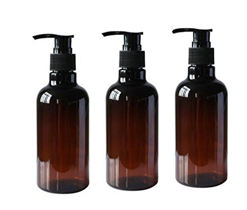 3PCS 250ML 8OZ Refillable Empty PET Plastic Pump Bottles Shampoo Shower Gel Jars Containers with Black Pump Tops for Makeup Cosmetic Bath Shower Toiletries Liquid Containers Leak Proof Portable Travel Accessories