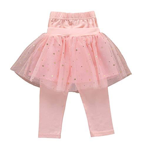 HUIHUI Mädchen Tütü Rock Rockabilly Petticoat Tüllrock Ballkleid Abendkleid Ballettrock mit Sternchen + Knielange Hosen Perfekt für Fasching rosenmontag 2019 (130 (4-5Jahre), Rosa)