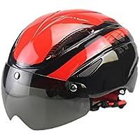 XDXDWEWERT Bicicleta Casco de Ciclismo para Adultos con Casco Desmontable con Casco de Bicicleta Ajustable (Rojo)