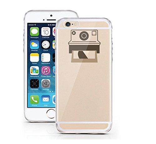 iPhone 6 6S Hülle aus TPU Planetenring minimalistisches Design Apple Logo Case schwarzes Motiv auf transparentem iPhone Case Saturn - licaso® (iPhone 6 6S, Umlaufbahn) Polaroid