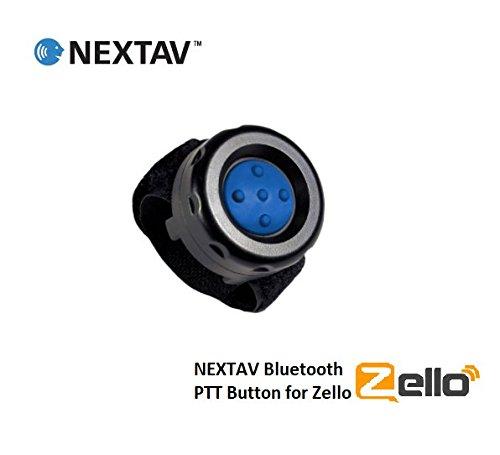 nextav Sport Wireless Bluetooth PTT-Taste Schalter für iPhone IOS für Zello App mit Strap Klett mit Blau Farbe Gummi Button [ptt-zb] Ptt Bluetooth