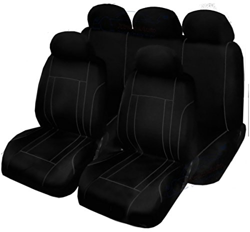 XtremeAuto® WLW2 - rev_9piece_seatcovers Car Seat Covers Set, Black Grey