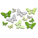 Design for your heart Streudeko SCHMETTERLING - Grün/Grau - 72 Stück - Butterfly - Holz - - Dekortation - Tischdeko für Hochzeit, Taufe, Geburtstag - Hochzeitsdeko