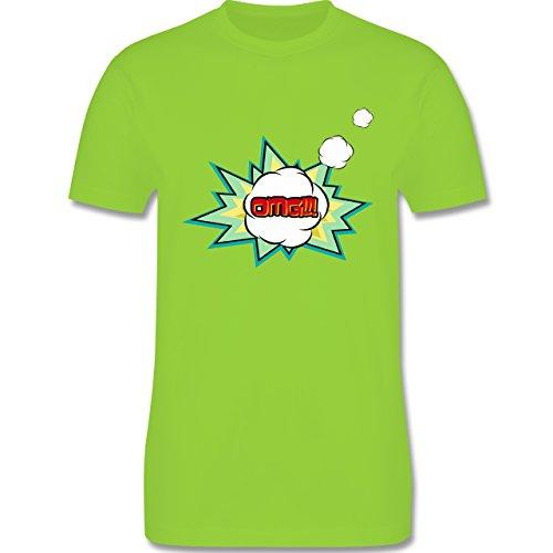 Comic Shirts - OMG - Oh my god Denkblase - Herren Premium T-Shirt Hellgrün