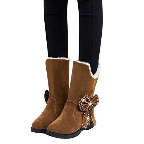 Tatis Shoes Solide Wildleder Künstliche Plüsch Perle Dekorative Bogen Stiefeletten Frauen Wildleder Schleife Perlen Runde Zehe Keile Schuhe Warm Slip-On Snow Boots Schuhe