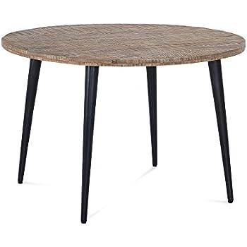 Esstisch Rund Holz Massiv Metall Tischplatte Mangoholz Braun