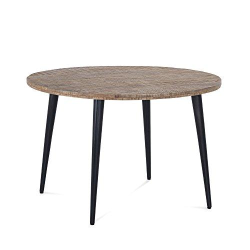 Esstisch rund Holz massiv Metall Tischplatte Mangoholz braun Tischbeine Eisen schwarz - Beauvalle -