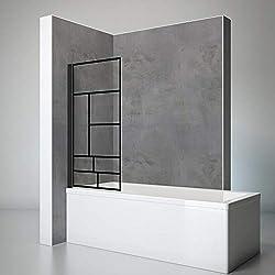Schulte pare baignoire pivotant, paroi de baignoire rabattable, écran de baignoire noir, 1 volet pliant, verre décor Atelier, 70x130 cm