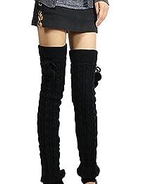 Sanwood tressé femmes Bas Jambières en tricot capuche sans pieds