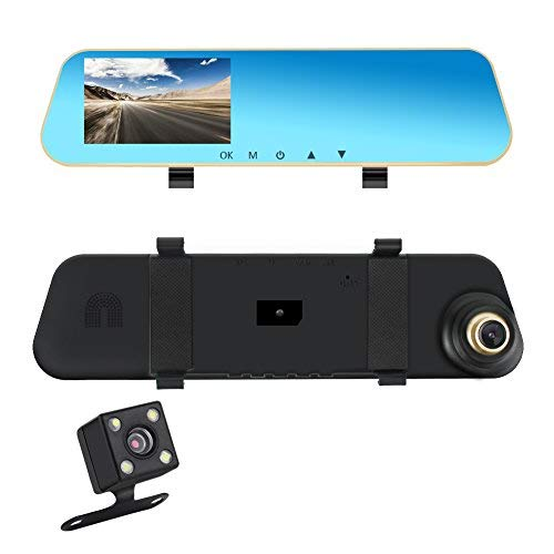 Dual Lens Dash Cam, Car Dashboard Camera Rear View Mirror Front and Rear, MALUOKASA 1080P Full HD Video Car Driving Recorder, DVR with G-Sensor, Loop Recording Parking Mode Motion Detection, 4.3 inch 140° Wide View Sight