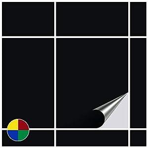 FoLIESEN Fliesenaufkleber 20x25 cm - Fliesen-Folie Bad - Klebefolie Küche - 30 Klebefliesen, Schwarz glänzend