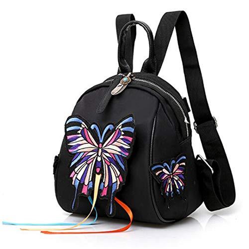 Oxford-Schmetterlings-Stickerei-Taschen-Schwarz-Druck-Reise-Rucksack der Frauen