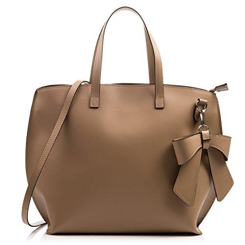 FIRENZE ARTEGIANI.Handtasche für Damen aus echtem Leder. Luxuriöses Ruga-Design. Shopper. Schultertasche für Damen Echtes italienisches Leder. 40 x 30 x 16 cm. Farbe: Taupe -