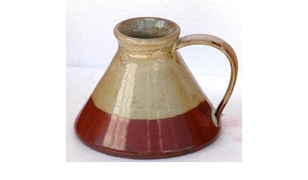 31a80c2fcfa Travel Mug Wide Bottom Ceramic Mug Cream on Rust: Amazon.co.uk: Kitchen &  Home