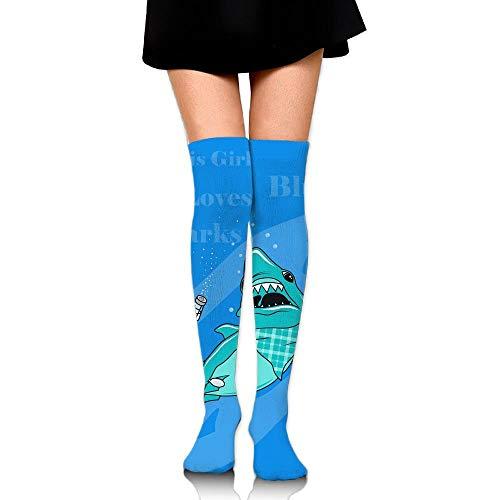 Girl Loves Sharks Blush Casual Crew Top Socks Knee Long High Socks ()