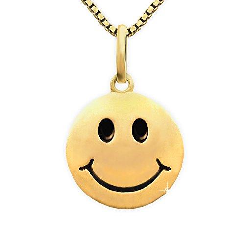CLEVER SCHMUCK Set Vergoldeter Anhänger Ø 12 mm Smiley seidenmatt, Augen und Mund schwarz lackiert Sterling Silber 925 Gold-plattiert und vergoldeter Kette Venezia 45 cm für Damen im Etui -