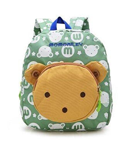 Flyingsky Bear Animals Kids Book Backpack Baby Girls School Bag (Grass green)