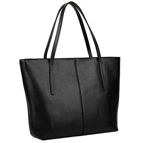 YALUXE Handtasche Damen Echt Leder Grosse Kapazität Lederarbeitstasche mit Reißverschluss Schultertasche Schwarz