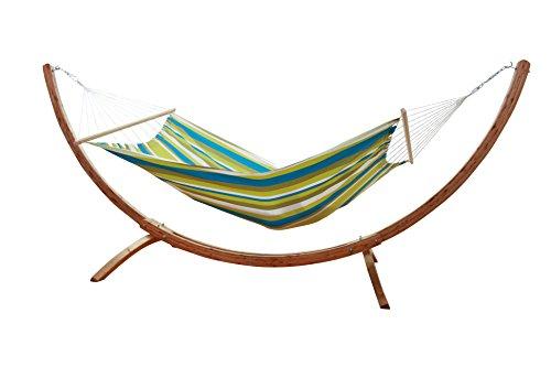 macamex Hamac SIESTA Grande Support en bois avec hamac verte Caribe Beach résistant aux intempéries