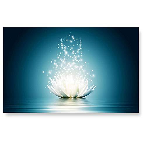 """LANA KK Küchenrückwand - Glasbild\""""Shining\"""" Blumen und Natur edler Kunstdruck hinter 6 mm Starkem Sicherheitsglas, Blau, 90 x 60 x 0.6 cm"""