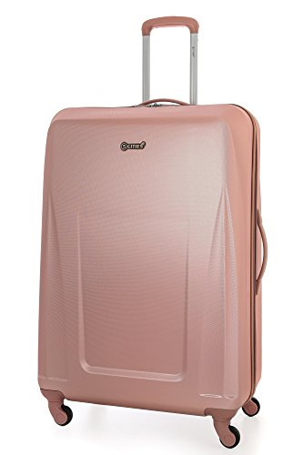 5 Cities ABS Valise Rigide Légere à 4 Roulettes , Grande, 81cm , 126L , Or Rose