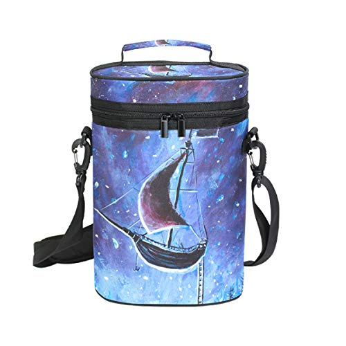 Ahomy Wine Tragetasche für Ölgemälde, Piratenschiff, Sternenhimmel, 2 Flaschen, isoliert, Kühler - Personalisierte Wein-kühler