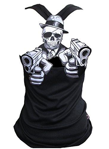 Rockabilly Punk Rock Baby Damen Schwarz Tank Top Shirt Crime Gun Skull XL (Rockabilly Punk Rock)