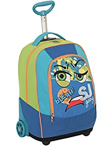 BIG TROLLEY SJ FACE - 2in1 Wheeled Backpack with Disappearing Shoulder Straps - Green Blue 31Lt from Seven