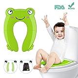 Tapa plegable wc para niños, Besfair Asiento de inodoro, Reductor wc niños, Orinal portátil para bebés, con 4 Alfombras Antideslizantes y 2 Soportes Inferiores. Más Igiénico y Estable, Ideal como el entrenamiento para ir al baño. Verde