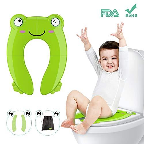 Riduttore wc per bambini besfair sedile wc forma della rana pot de vayage soft con copriwater usa e getta riutilizzabile tagliabile (verde)