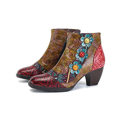 SHOESHAOGE Damen Bootie Nappaleder Frühling &Herbst Vintage Stiefel Chunky Heel Booties/Stiefeletten Friesen Rot