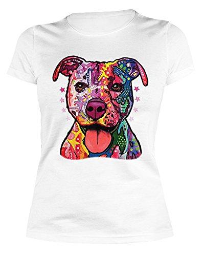 Lady Shirt Neon Pitbull Shirt 4 Heroines Girlie T-Shirt Hund Geburtstag Geschenk geil bedruckt Weiß