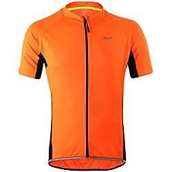 Ketamyy Hombre Verano Transpirable Secado Rápido Absorción De Humedad Manga Corta Ciclismo Jersey Ropa Bicicleta Naranja Fluorescente 2XL