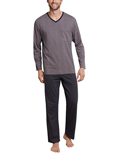 Schiesser Herren Zweiteiliger Schlafanzug Anzug Lang, Grau (Anthrazit 203), Large (Herstellergröße: 052)