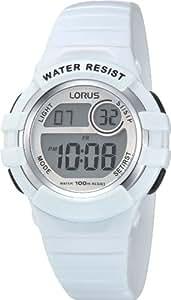 Lorus - R2383HX9 - Montre Mixte - Quartz Digital - Chronomètre/Eclairage - Bracelet Caoutchouc Blanc