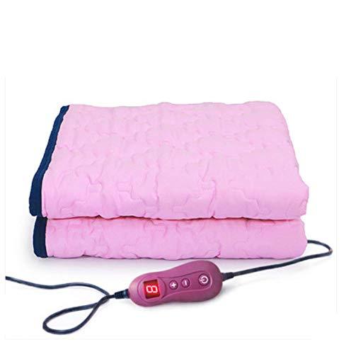 FUGUOGUO Elektrische beheizte Wärmedecke, waschbar Zeitgesteuerte automatische Abschaltung Faltbare Baumwolle Extra weich Beheizter Wurf 11 Gangeinstellung Heizdecken Einzelbett,Pink
