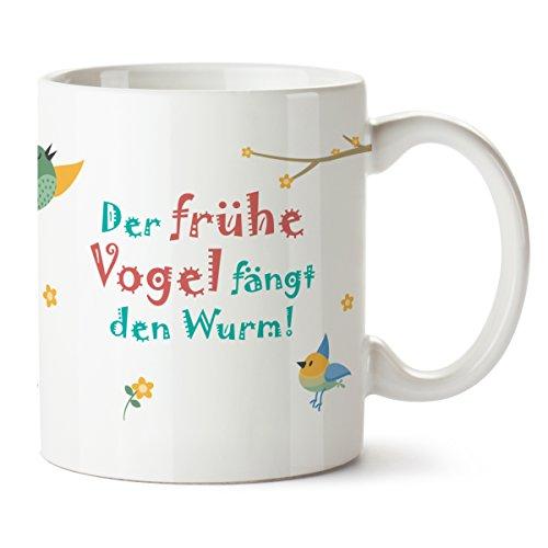 Partycards Kaffeetasse | Motiv - DER FRÜHE Vogel FÄNGT DEN Wurm | 300 ml weiß | Frühstück | Familie | Guten Morgen | Tasse mit sprüchen - Lustig | Kafeetasse | Geschenk (Grüne Frühstück Kissen)