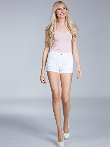 CASPAR HTP005 Damen Sommer Shorts / Hotpants / kurze Hose Weiß