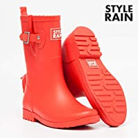 ZQDZYA Wellington Boots,Hao Rubber Ladies Waterproof Section In The Outer Wear Korean Cute Summer Matte Rain Boots Fashion Shoes In The Tube Solid Color Red Tube Pvc Women Wellington Boots