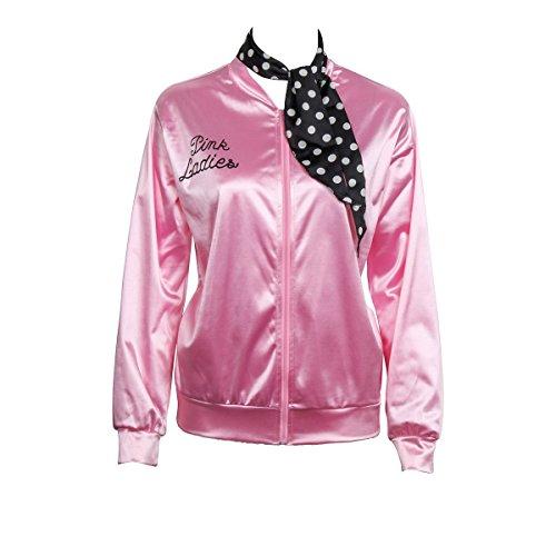 (Nofonda Halloween Kostüm, Ladies Pink schicke Jacke 50er 60er 70er Jahre Damen Kostüm, Pink Jacke aus Satin mit Polka Dots Schal, Party Rock n Roll (X-Small))