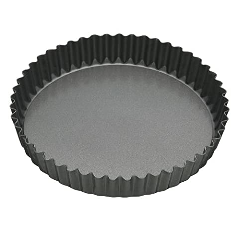 Master Class Non-Stick Large Fluted Flan Tin/Quiche Pan with Loose Base, Grey, 30 cm (12 inch)