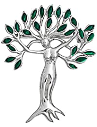 Bling Jewelry hojas verdes del árbol de la vida de la Diosa Brooch Pin Plata 925