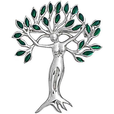 Bling Jewelry Color Esmeralda Hoja Árbol de la Vida Dioa Pin Broche Plata