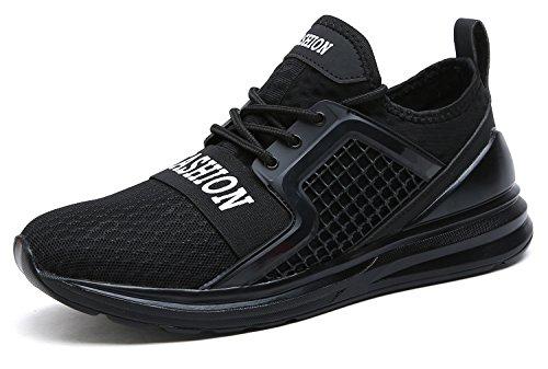 VITIKE Ashion Zapatos de Entrenamiento para Hombre Malla Respirable Zapatillas Aptitud Talla Extra Ligero Deportes Zapatos para Correr(EU45-Negro)