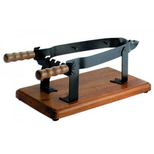 Morsa per Prosciutto, in ferro, con base e manici in legno, cm 60x18x15