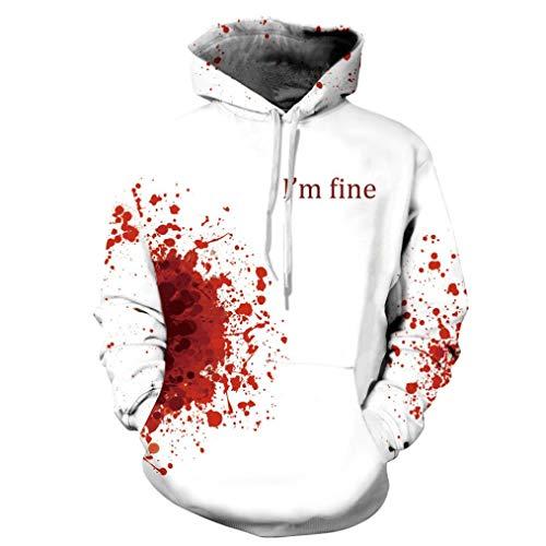 UFACE Herren Herbst und Winter Blood Print Digital Print Halloween Kapuzenpullover Frauen Männer Blut 3D Druck Langarm Hoodie Sweatshirt Pullover Top(C,3XL)