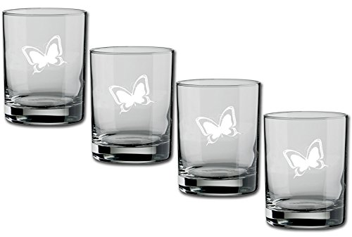 Kraftware Kasualware Collection U.S.A. Doppeltes altmodisches Glas, 4er-Pack, ca. 400 ml, transparent Butterfly (Schmetterling) Double Old Fashioned, 14-ounce farblos -