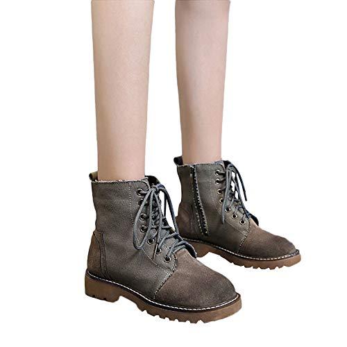 Beginfu Damen Klassische runde Zehe-Schuhe der flache Bügel-quadratische Ferse-rutschfeste Martin-Aufladungen Frauen flachen Boden Rundkopf Mode Side Zip Martin Stiefel