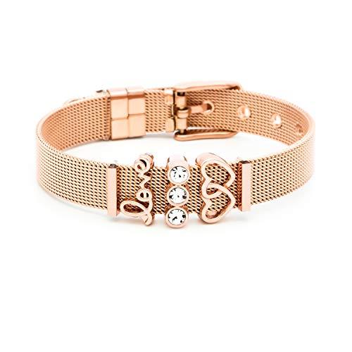 and Damen | Individuelle Anhänger Charms | Edelstahl | Charmband Set Frauen | Silber Rosegold Gold Bracelet (Sparkling Love - Rosegold) ()