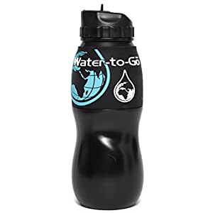 """WATER PURIFICATION FILTER BOTTLE - REMOVES CONTAMINANTS BY 99.9% - DEVELOPED BY THE AMERICAN SPACE PROGRAM """"NASA TECHNOLOGY"""" (bottle-black)"""